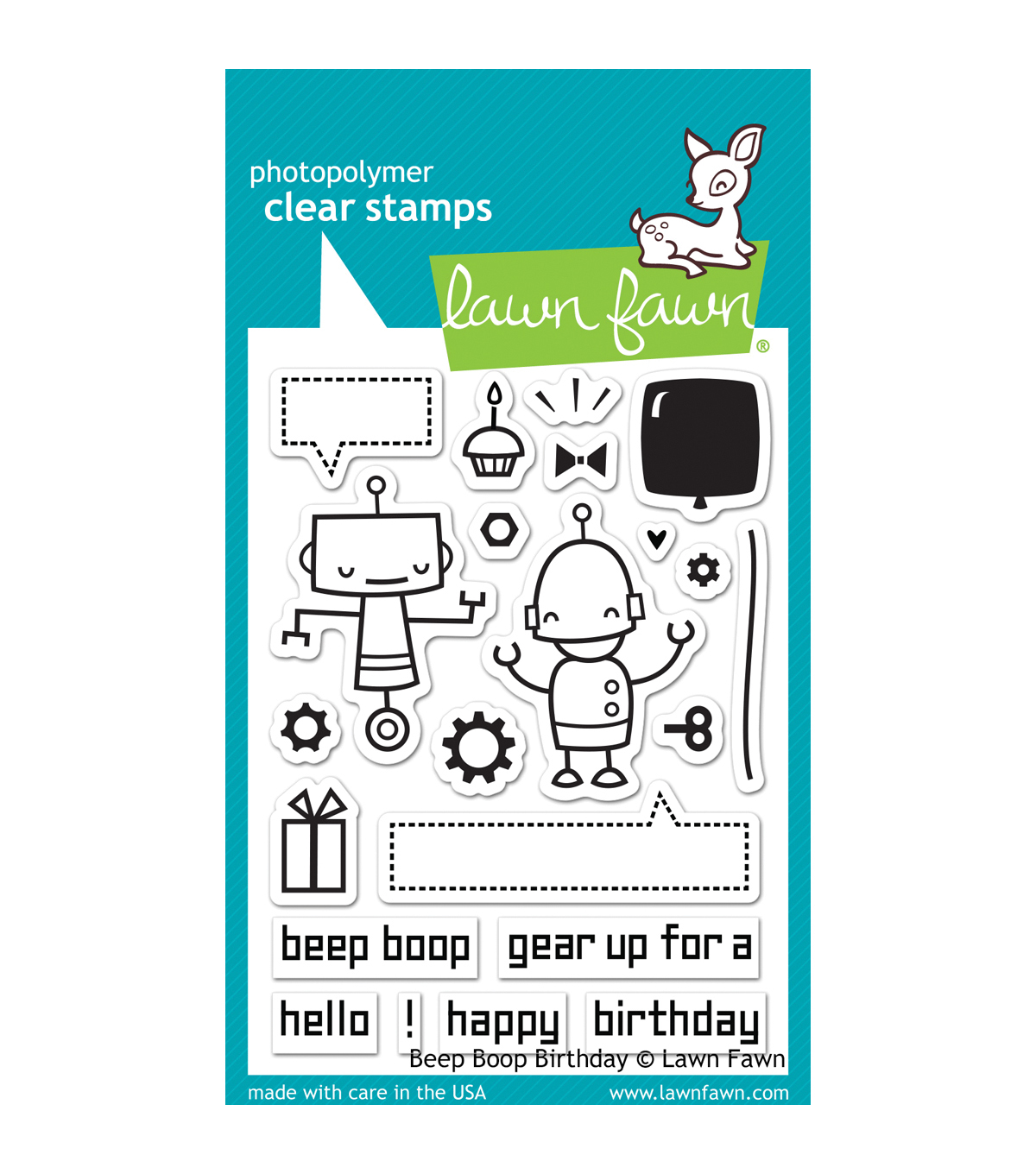 "Lawn Fawn Clear Stamps 3""X4""-Beep Boop Birthday"