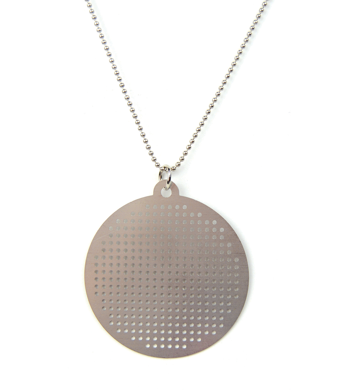 Cross Stitch Style Metal Necklace-Circle