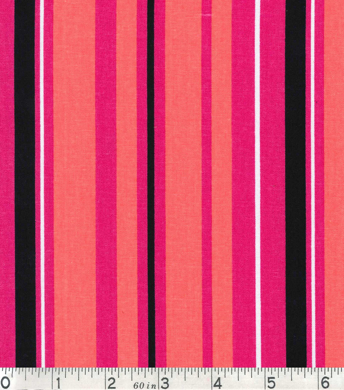 Keepsake Calico Fabric - Coral Black Stripe