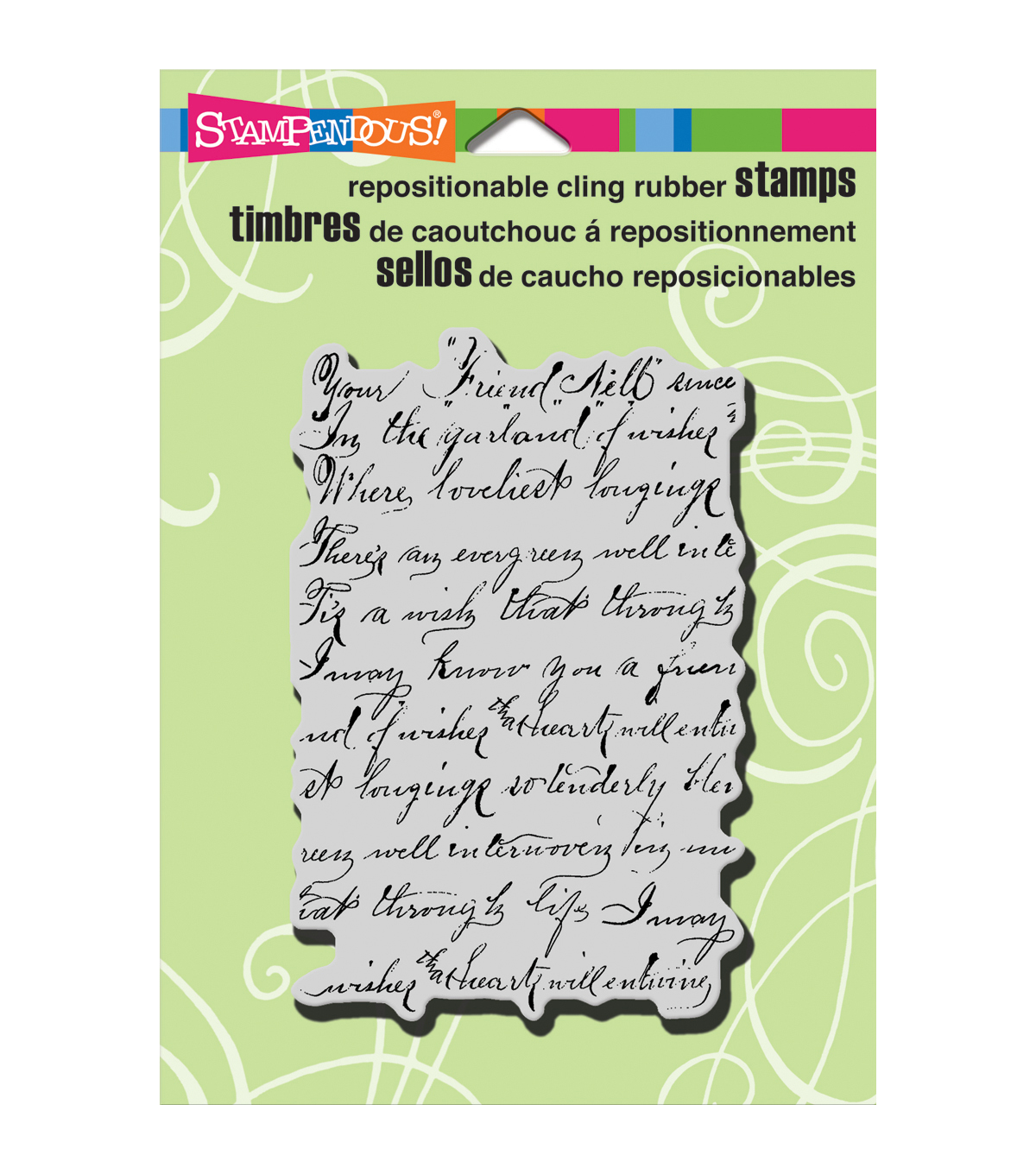 Stampendous Vintage Note Cling Rubber Stamp