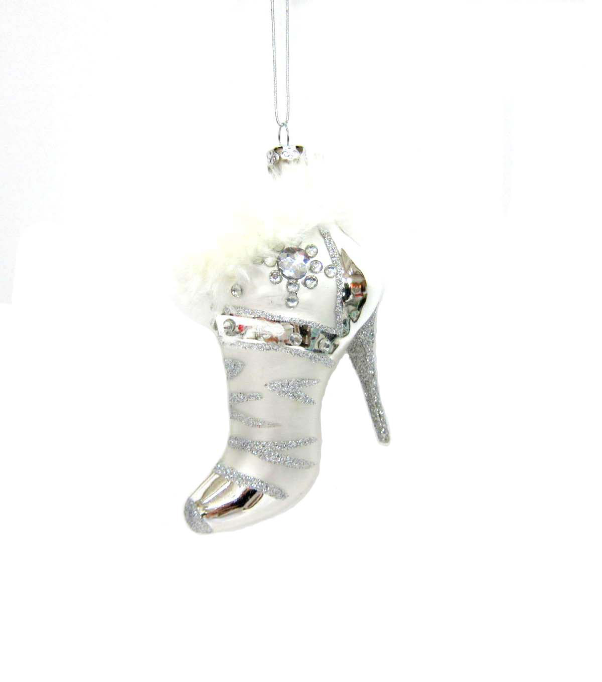 Maker\u0027s Holiday Silver Fur Boot Ornament