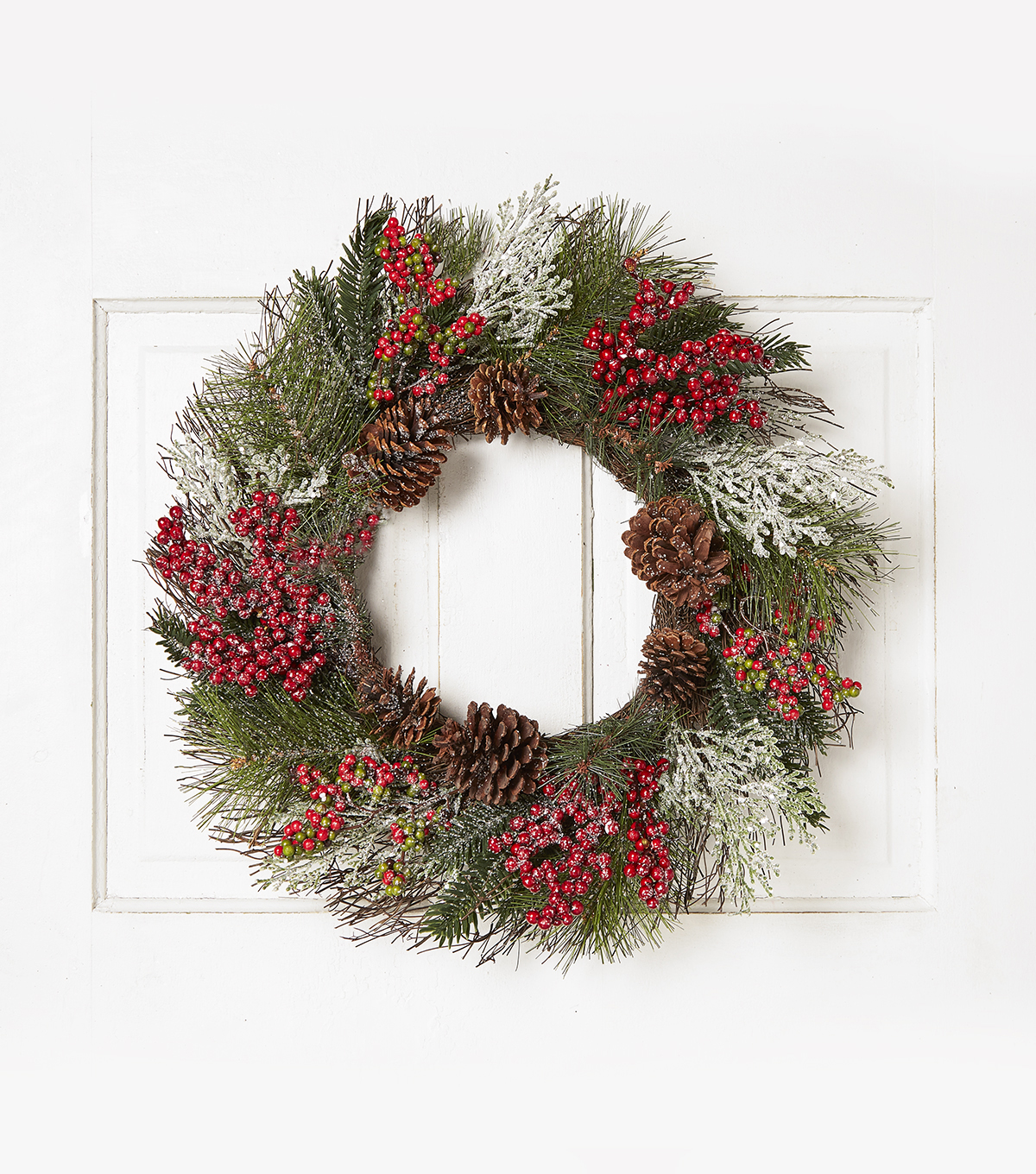 Blooming Holiday 23\u0027\u0027 Glisten Berry, Grapevine & Pinecone Wreath-Red