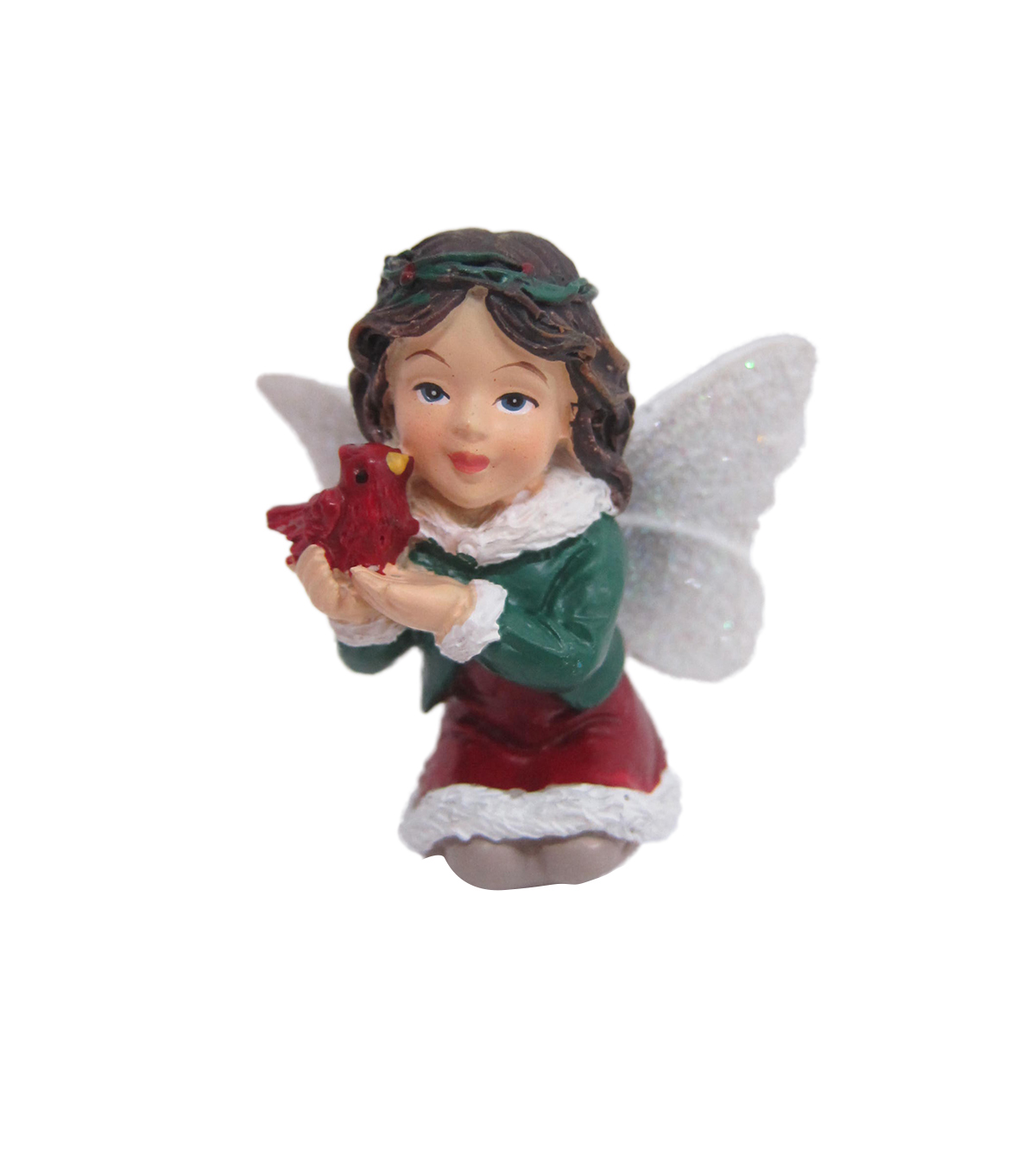 Maker's Holiday Christmas Littles Resin Fairy with Cardinal