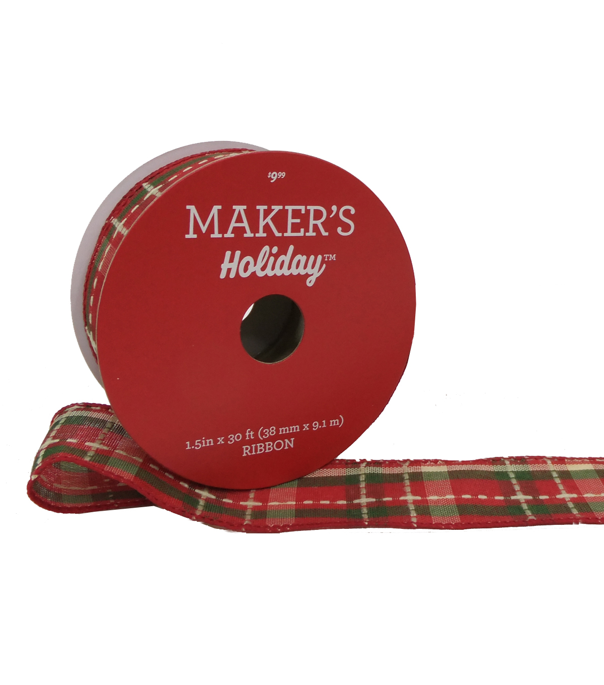 Maker's Holiday Christmas Ribbon 1.5''x30'-Red, Beige & Green Plaid
