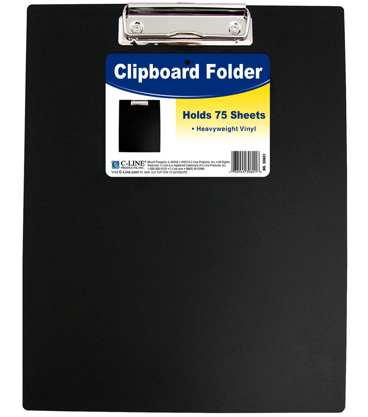 Heavyweight Vinyl Clipboard Folder-Black