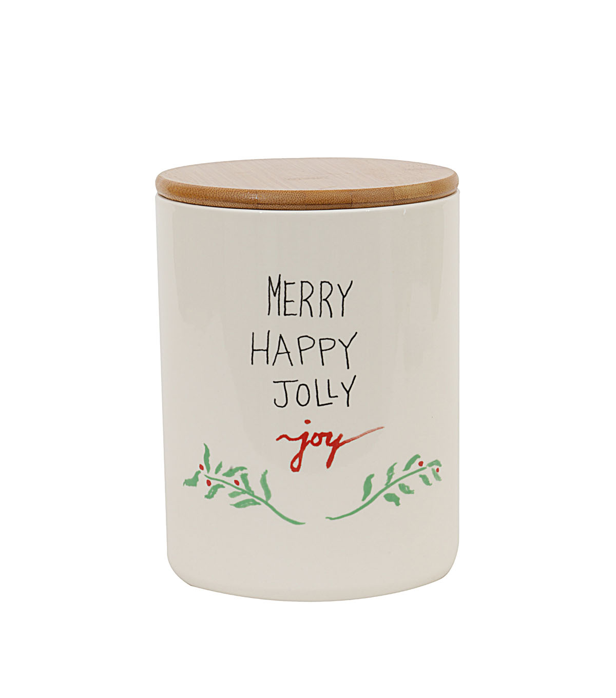 3R Studios Ceramic Jar with Bamboo Lid-Merry, Happy, Jolly & Joy