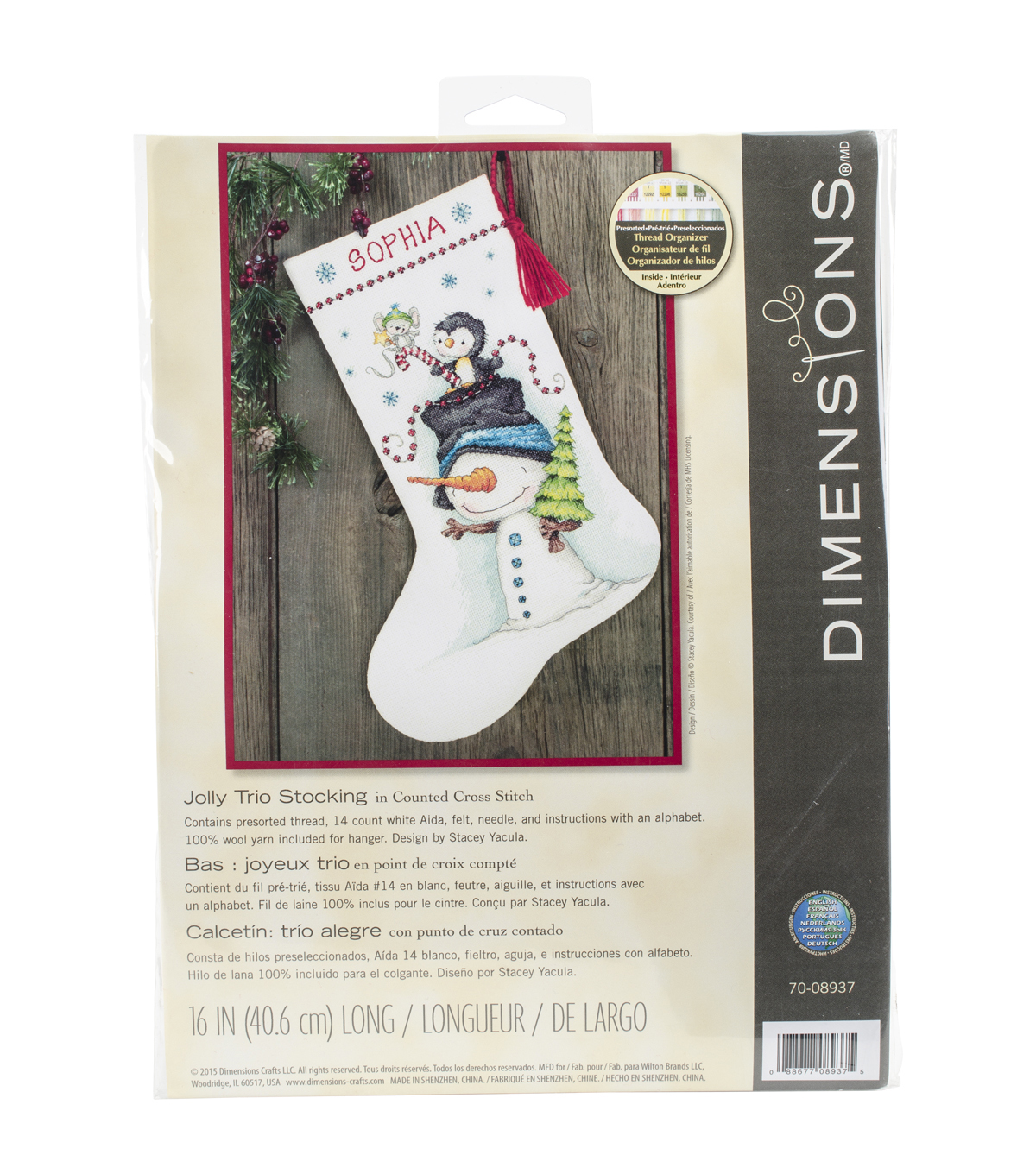 Dimensions Jolly Trio Stocking Counted Cross Stitch Kit