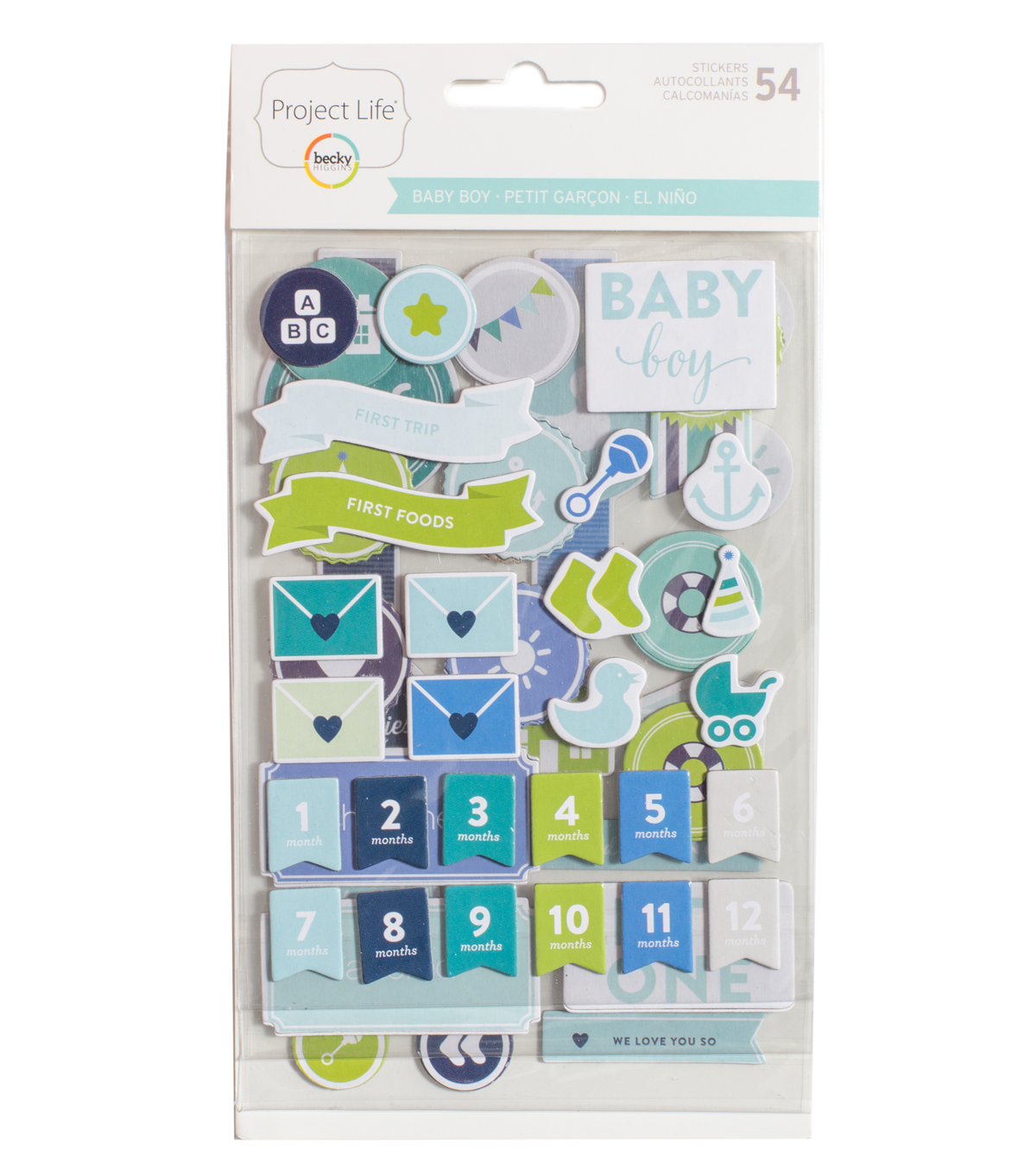 Project Life Becky Higgins 54 Pack Stickers-Baby Boy