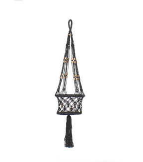 Hello Spring Macrame Hanging Planter-Black