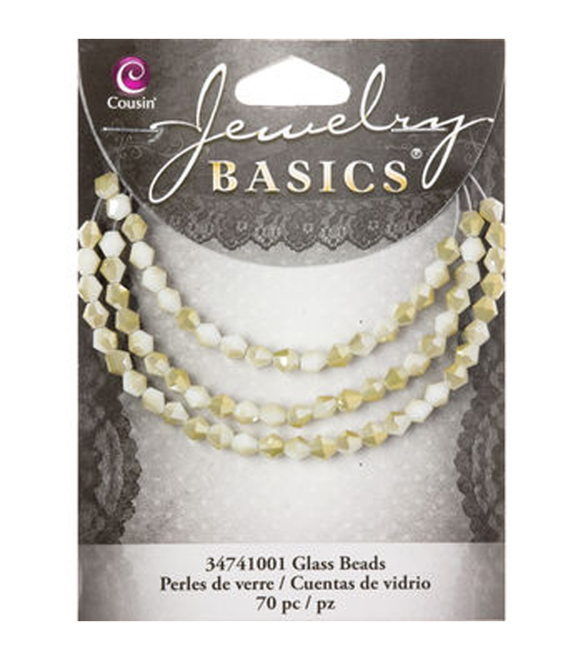 Jewelry Basics 70pc Glass 4mm Bicone 2Tone Cream Mirror Beads by Cousin