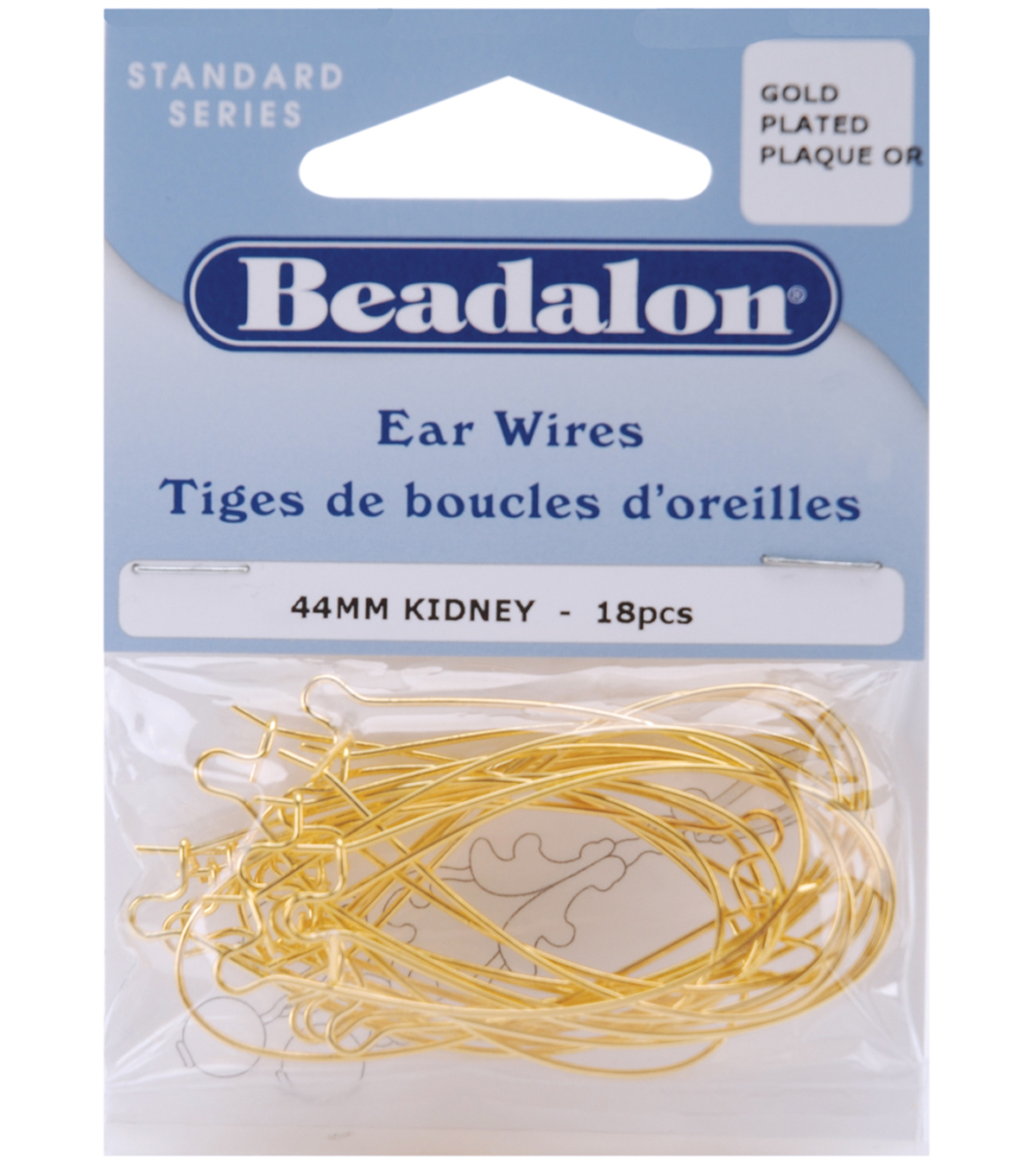 Beadalon Kidney Ear Wires 44mm 18PK-MANY COLORS