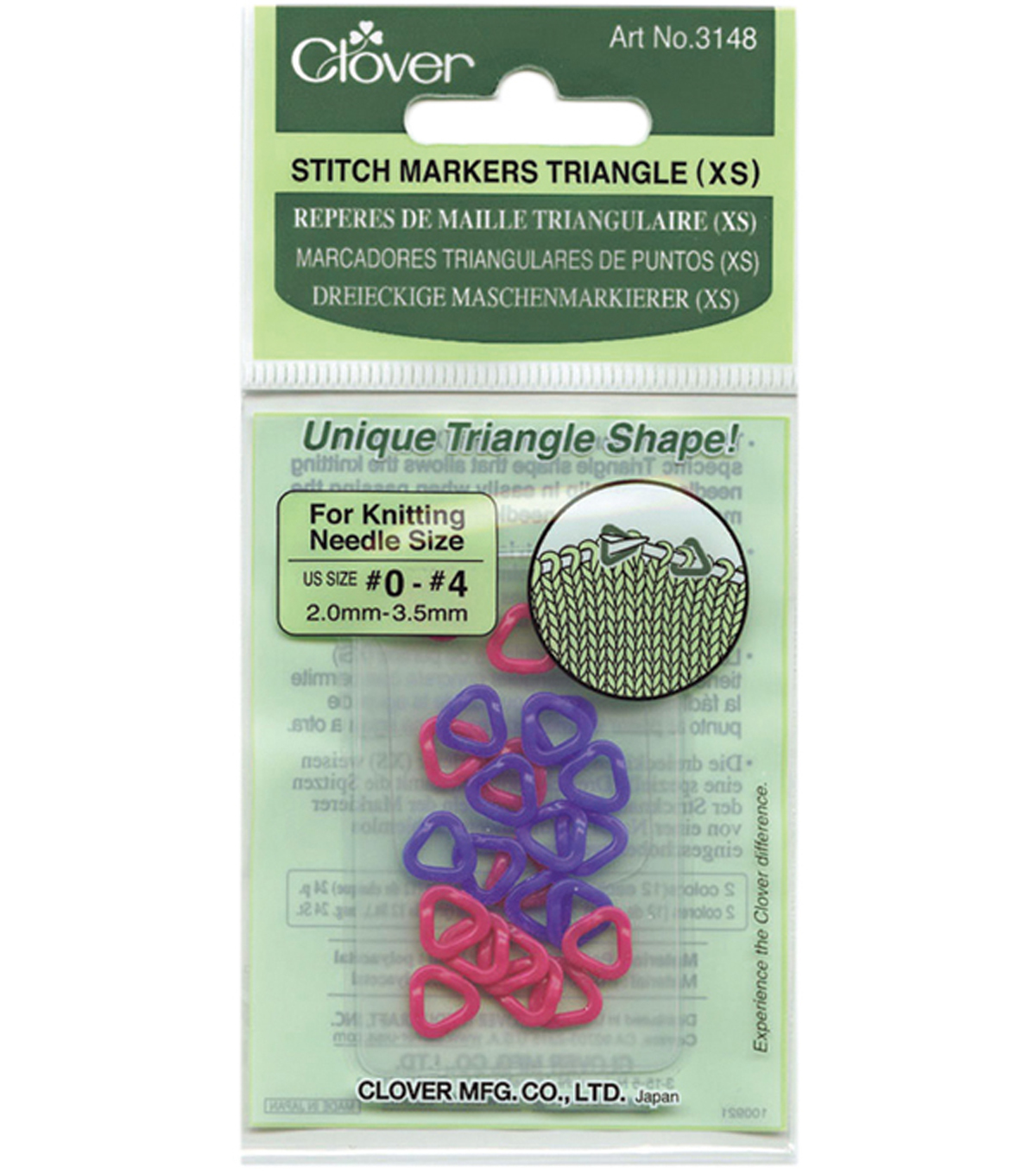 Clover Triangle Stitch Markers XS-24PK