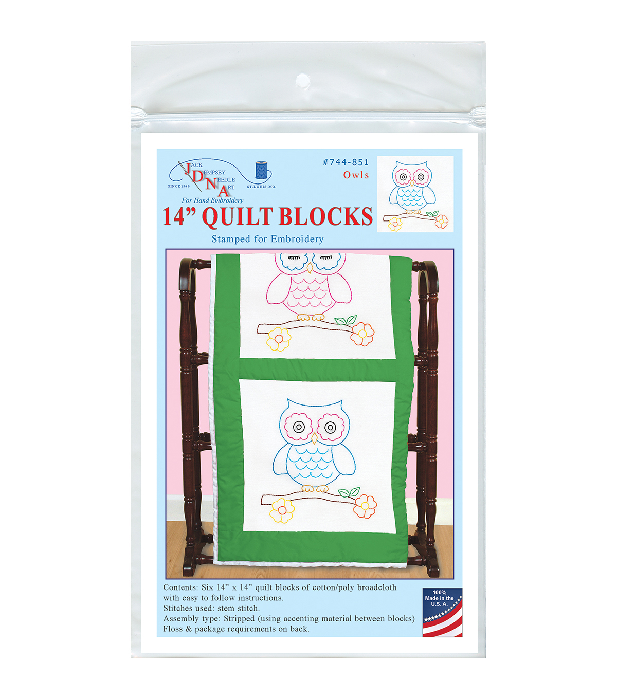 Jack Dempsey Owls Stamped White Themed Quilt Blocks
