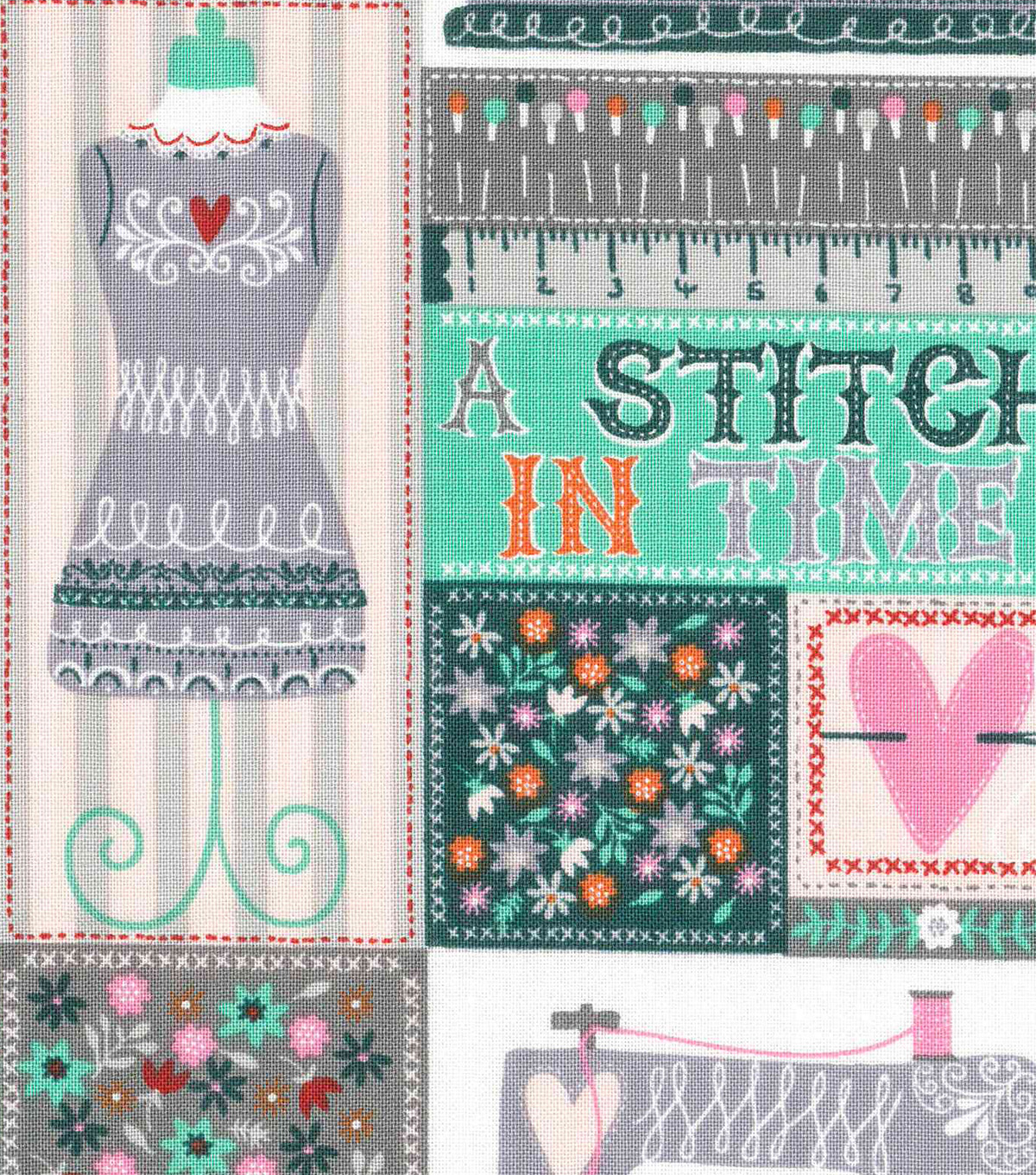 "Novelty Cotton Fabric 43""-A Stitch In Time Patch"