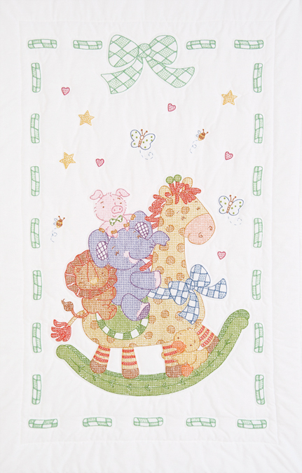 "Stamped White Quilt Crib Top 40""X60""-Giraffe&Friends"