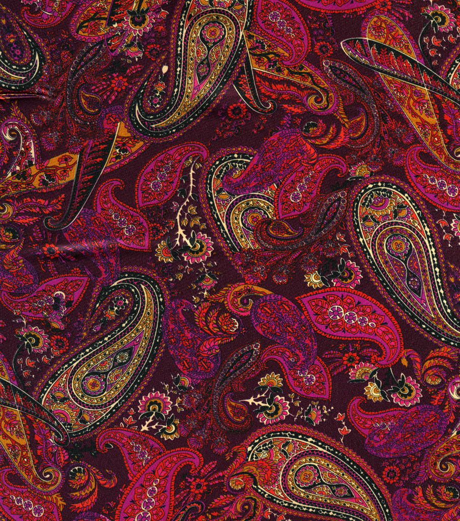 Simply Silky Prints Charmeuse Fabric Paisley Berry