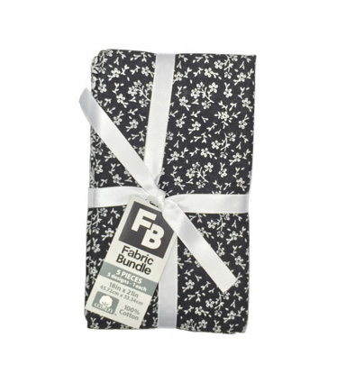 Fat Quarter Bundle Cotton Fabric 5-Pieces 18\u0027\u0027-White Floral On Black