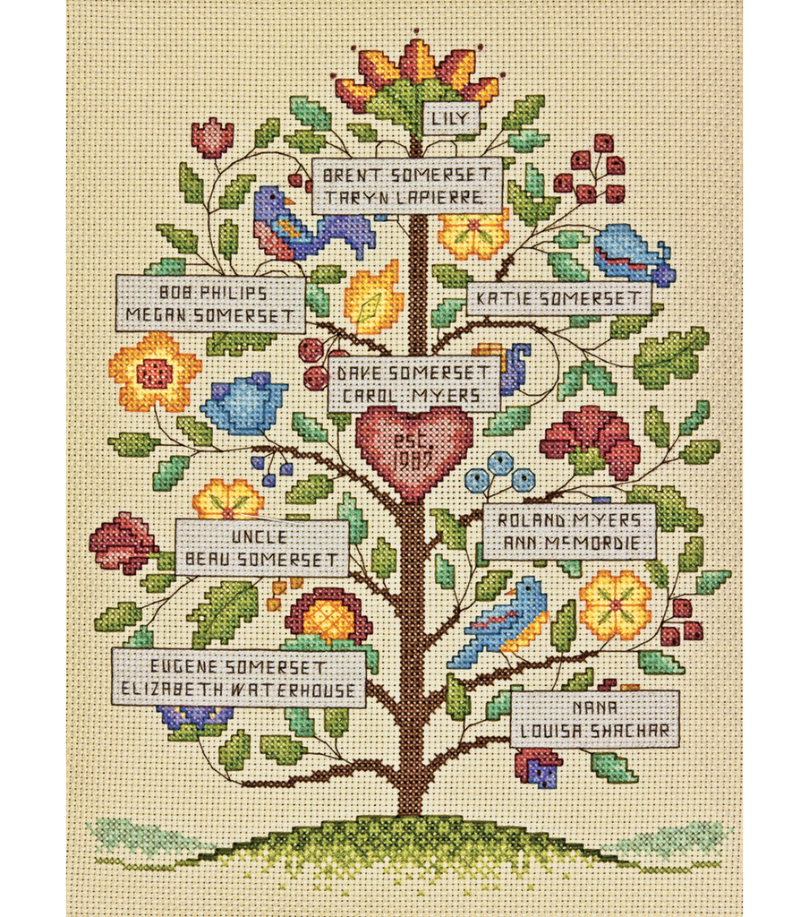 Vintage Family Tree Counted Cross Stitch Kit-9\u0022X12\u0022 14 Count