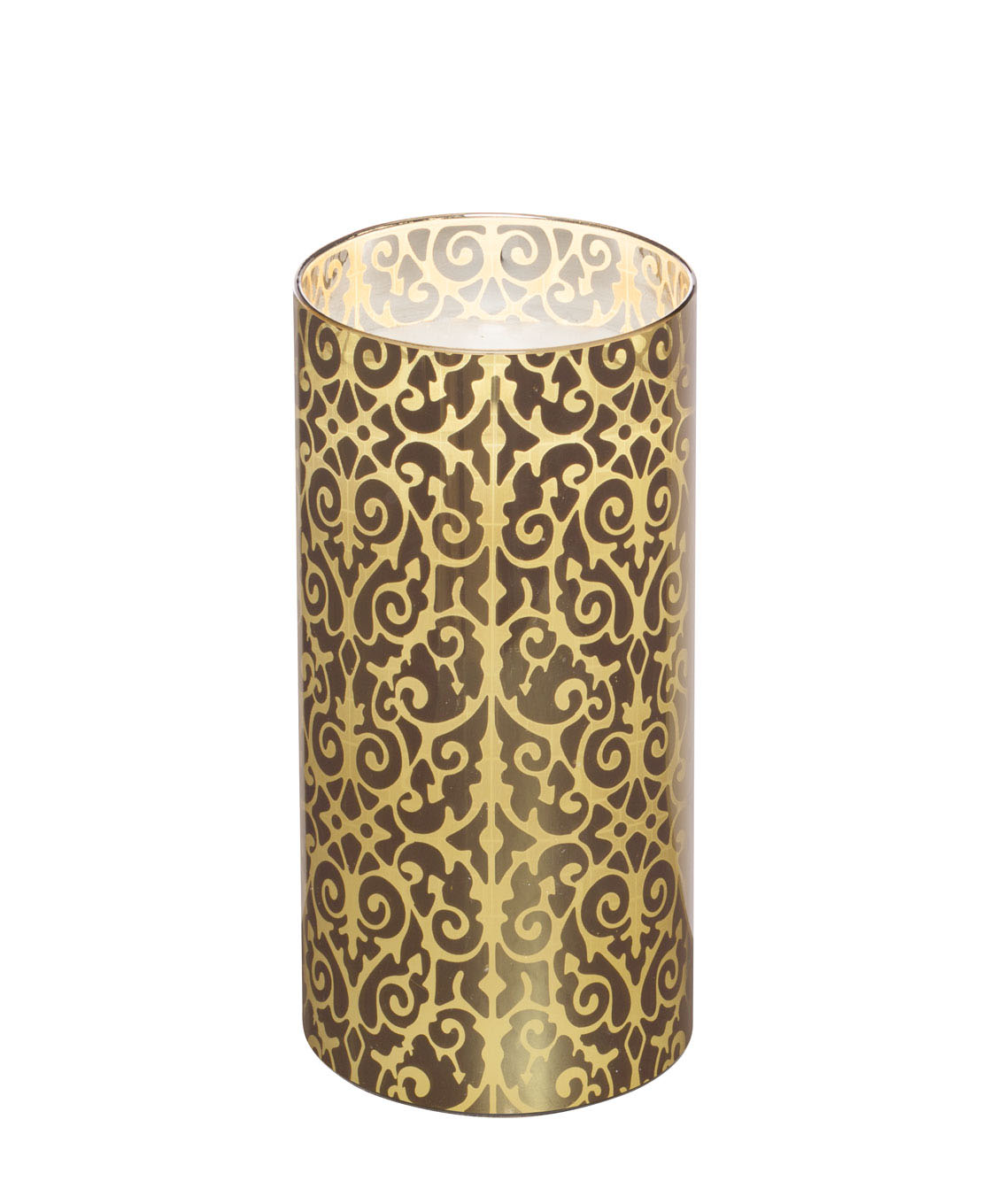 Hudson 43™ Candle & Light Collection 3X7 Gold Scroll Laser Etched Glass