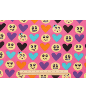 Blizzard Fleece Fabric 59\u0022-Emoticons And Hearts