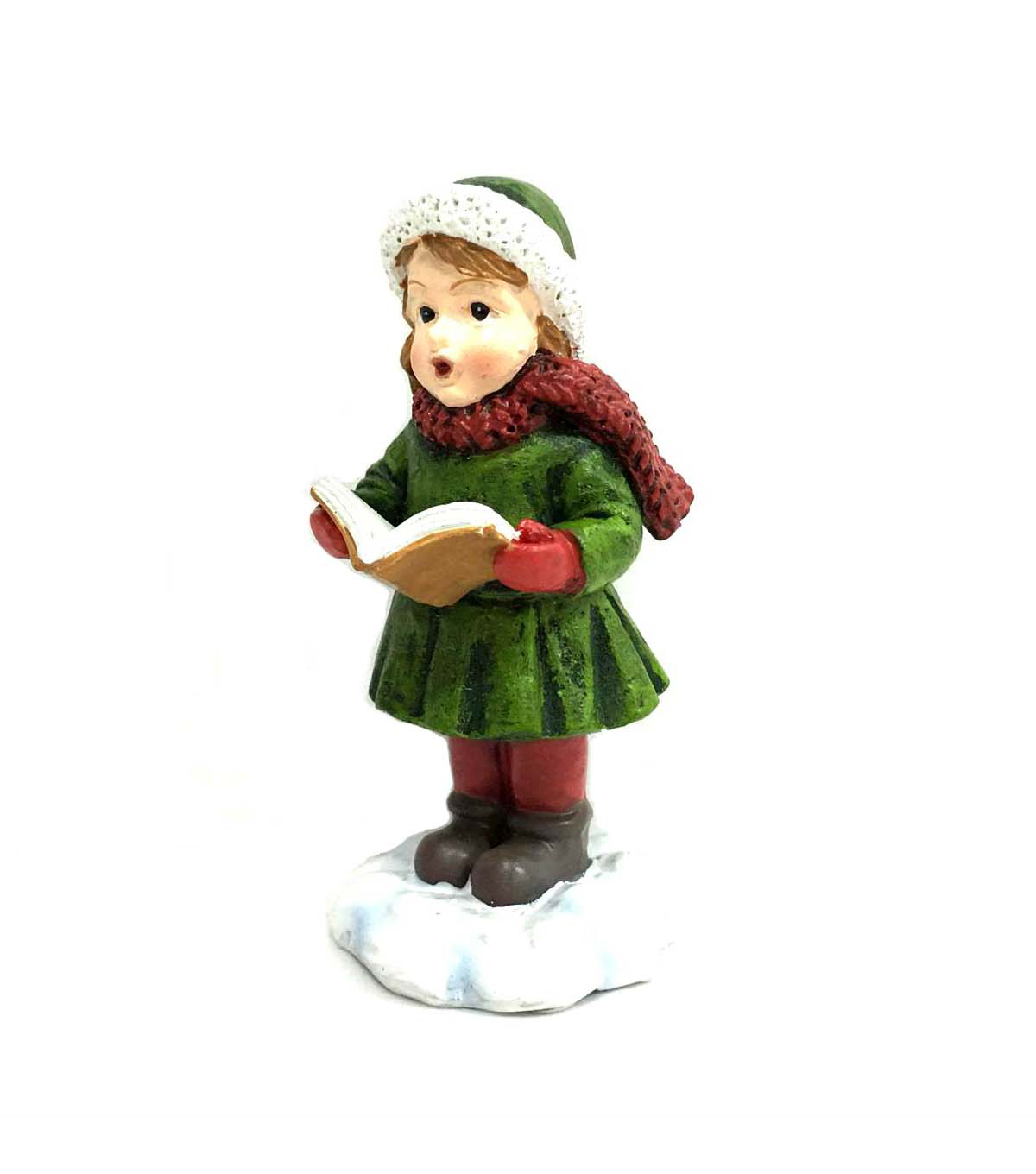 Maker\u0027s Holiday Littles Resin Girl Caroler Figurine