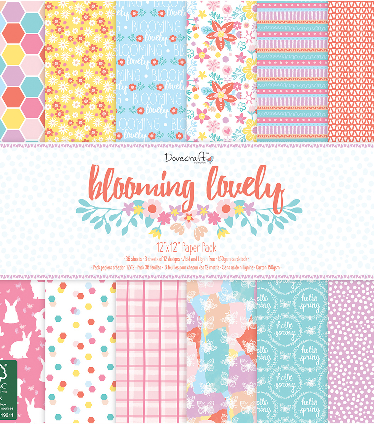 Dovecraft Blooming Lovely 36 sheets 12\u0027\u0027x12\u0027\u0027 Paper Pad