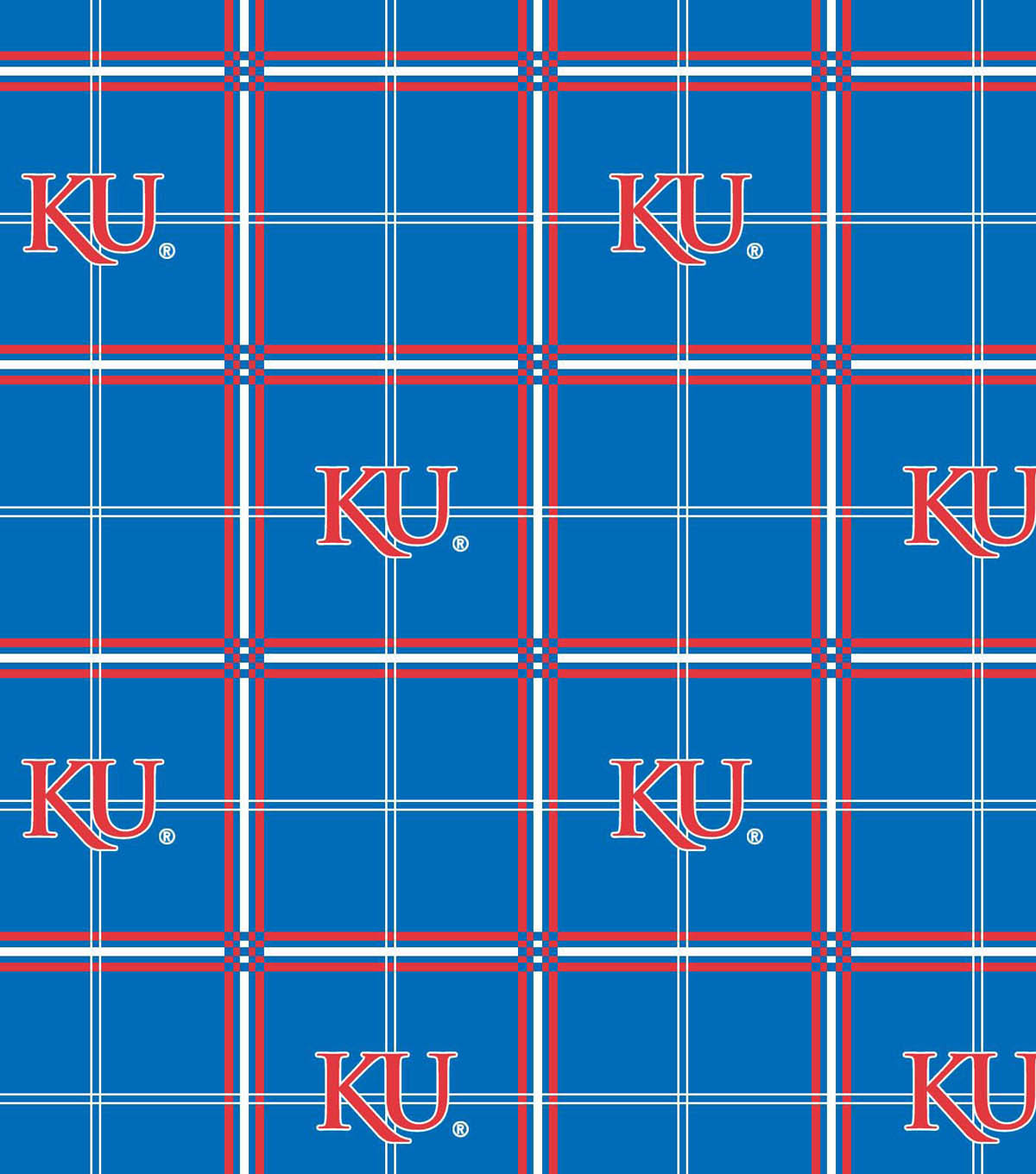 University of Kansas Jayhawks Flannel Fabric 42\u0022-Plaid