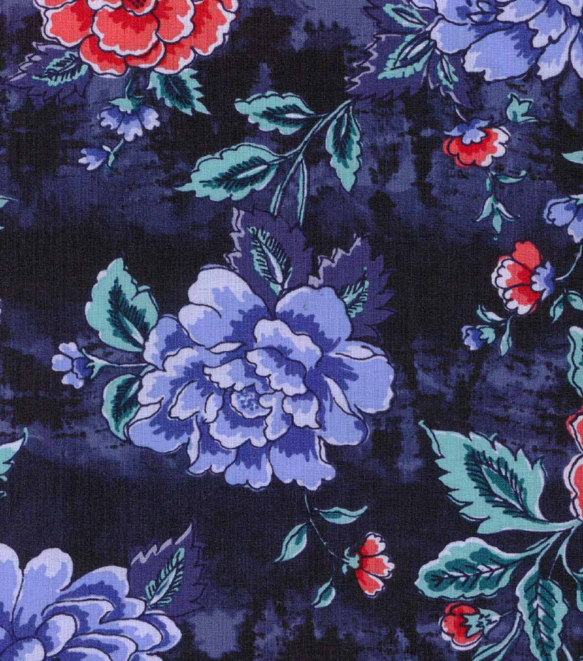 Buttercream™ Poppy Collection Cotton Fabric-Large Floral Navy
