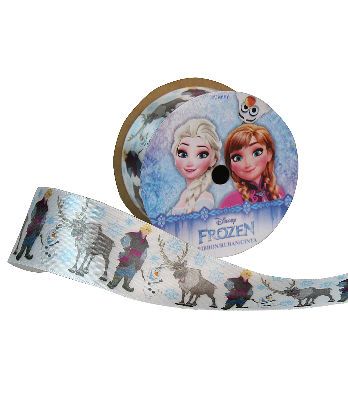 "Offray 1.5""x9' The Guys Frozen Character Single Faced Satin Ribbon-White"