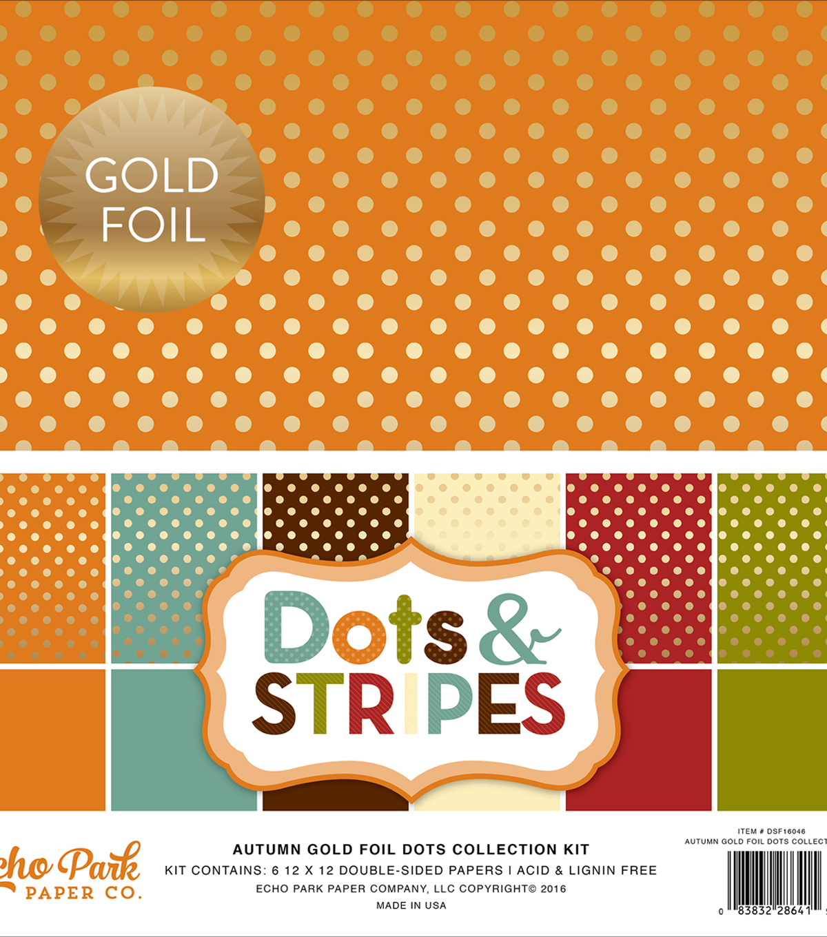 Double-Sided Collection Pack 12\u0022X12\u0022-Dots & Stripes Autumn
