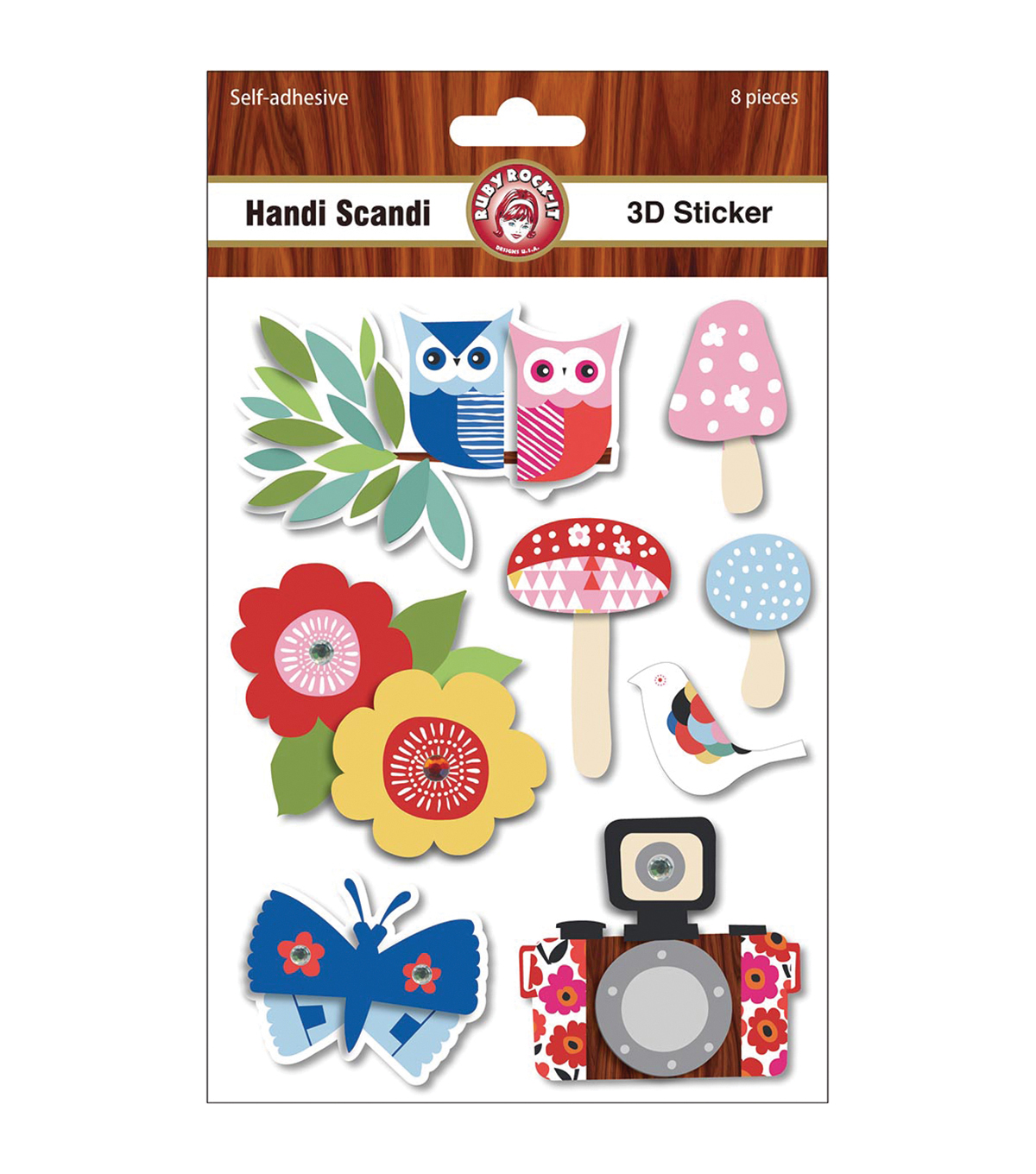 Ruby Rock-It Handi Scandi 3D Stickers With Glitter Accents