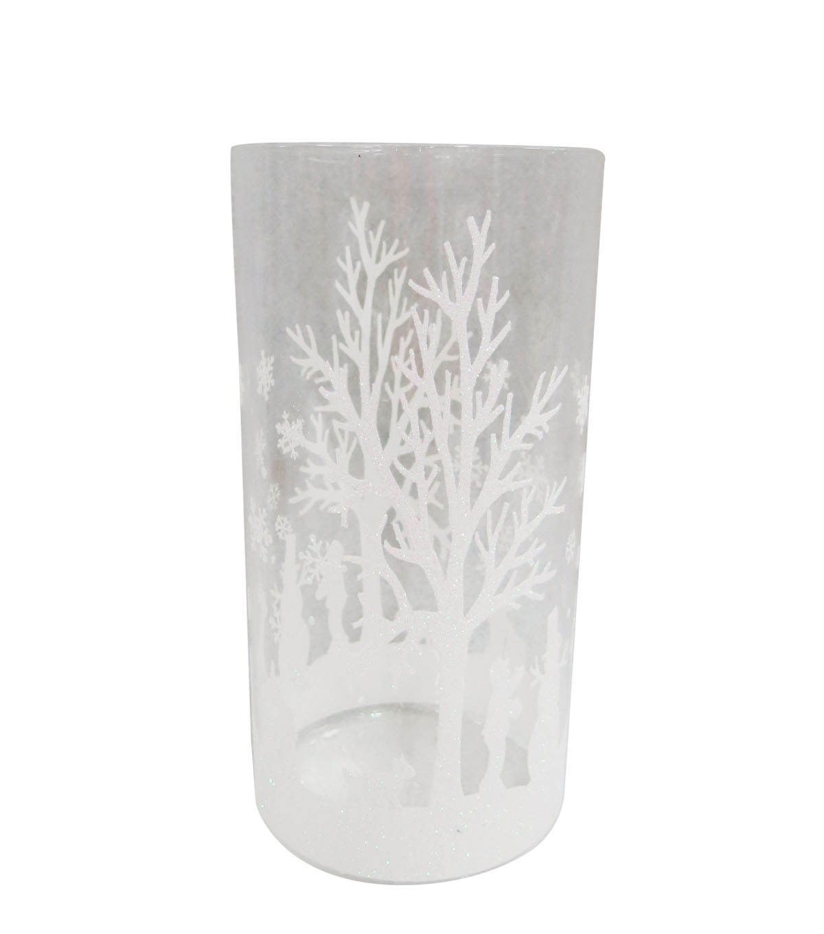Blooming Holiday 9\u0027\u0027 Snow Scene Glass Container