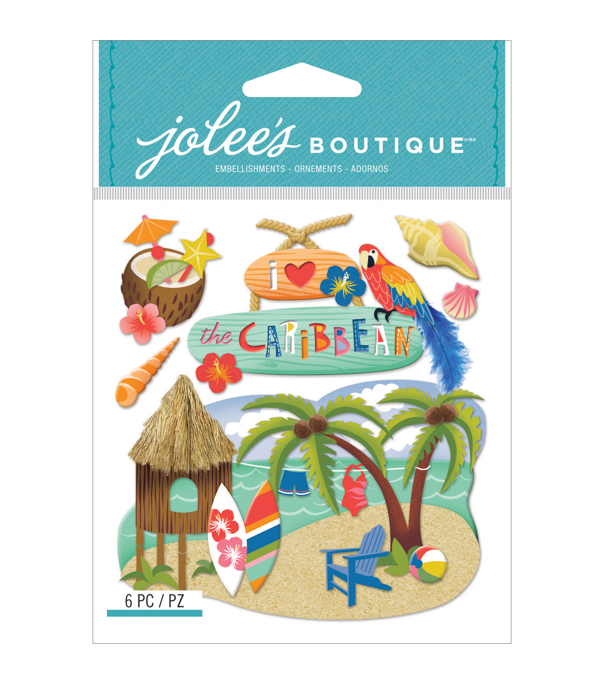 Jolee's Boutique® 6 Pack Dimensional Stickers-Caribbean