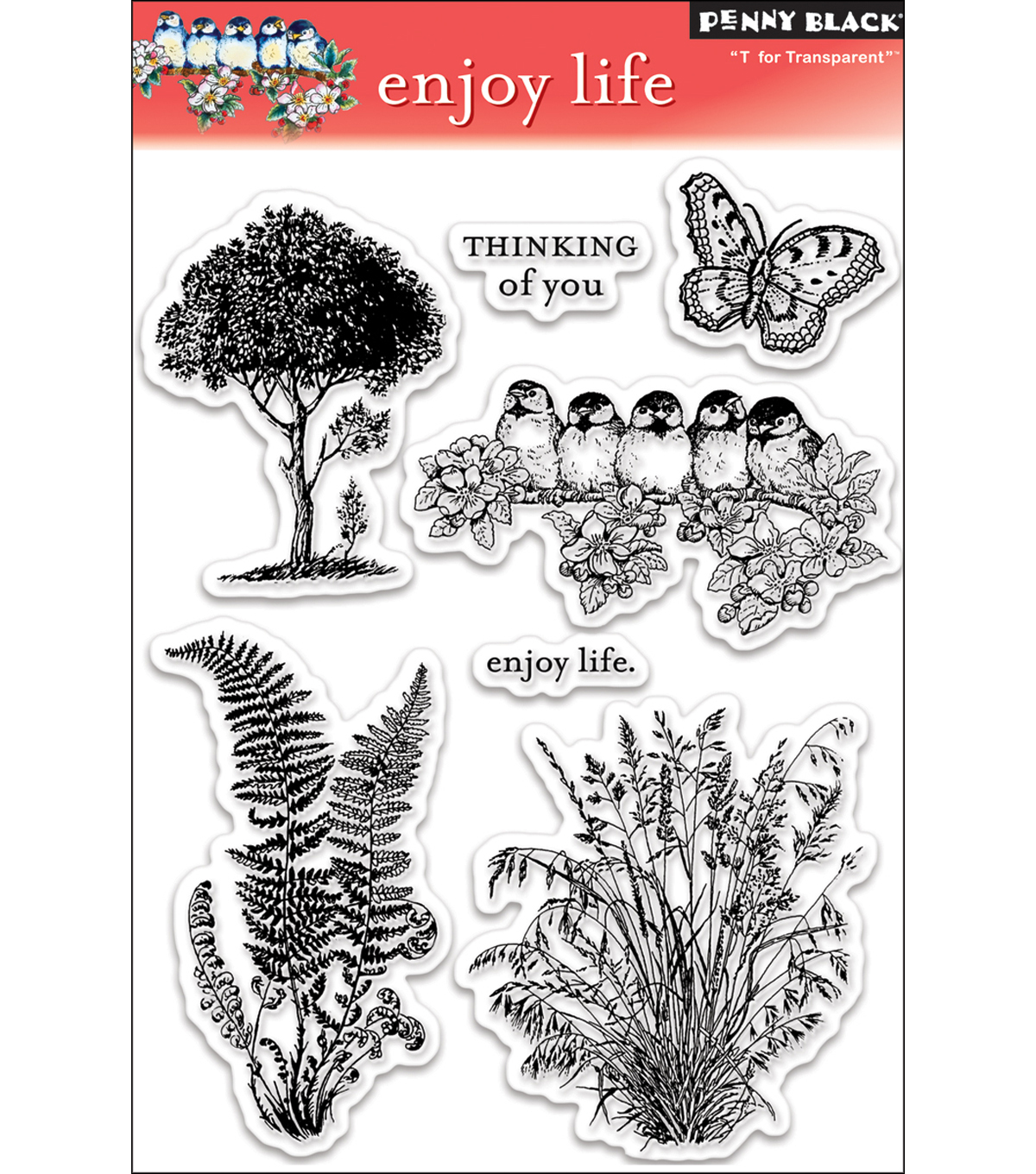 Penny Black Clear Stamp 5\u0022X7.5\u0022 Sheet-Enjoy Life