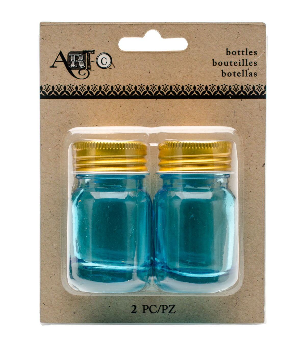 Mini Blue Mason Jar, 2 pieces