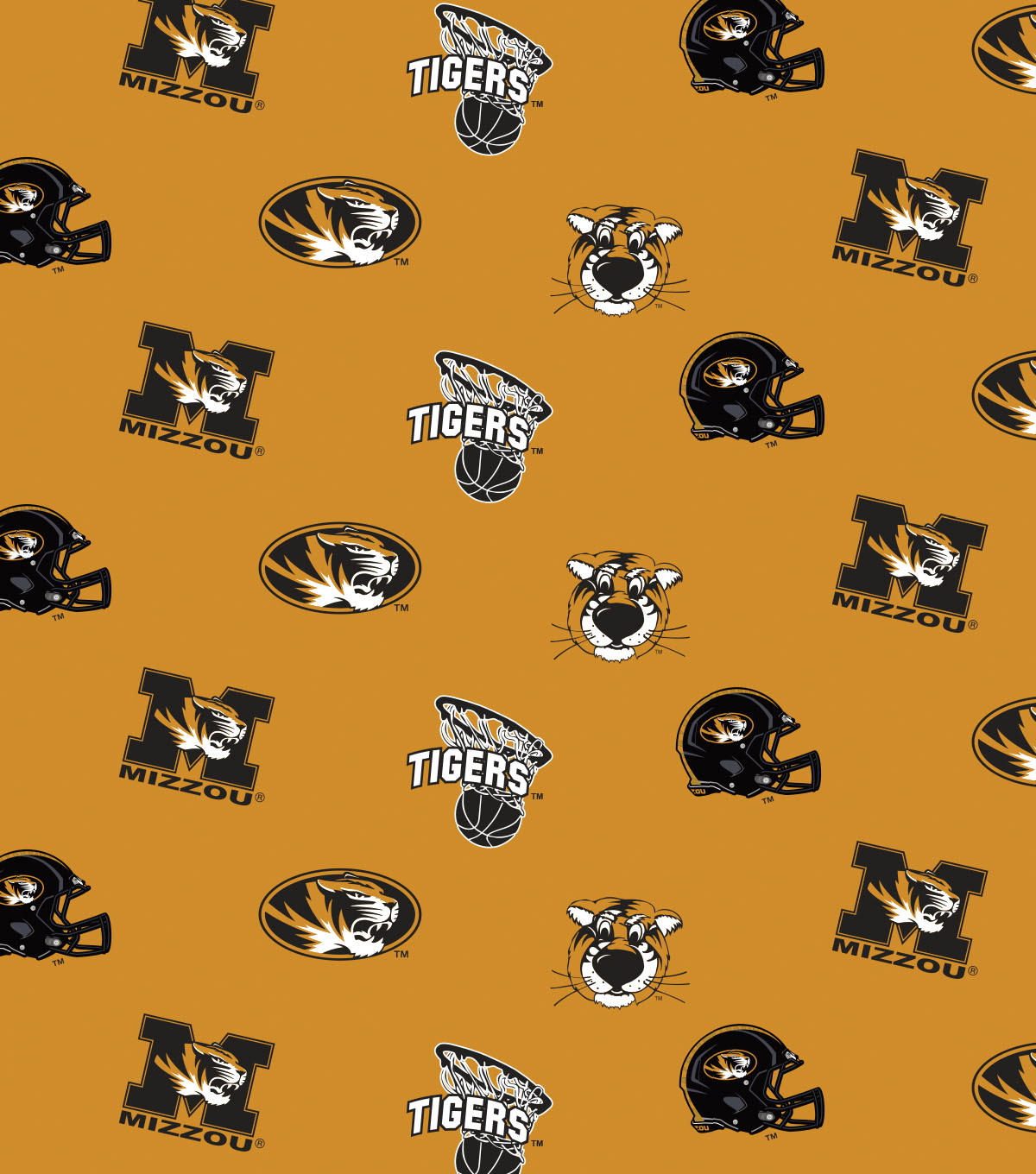 "University of Missouri Tigers Cotton Fabric 44""-Black All Over"