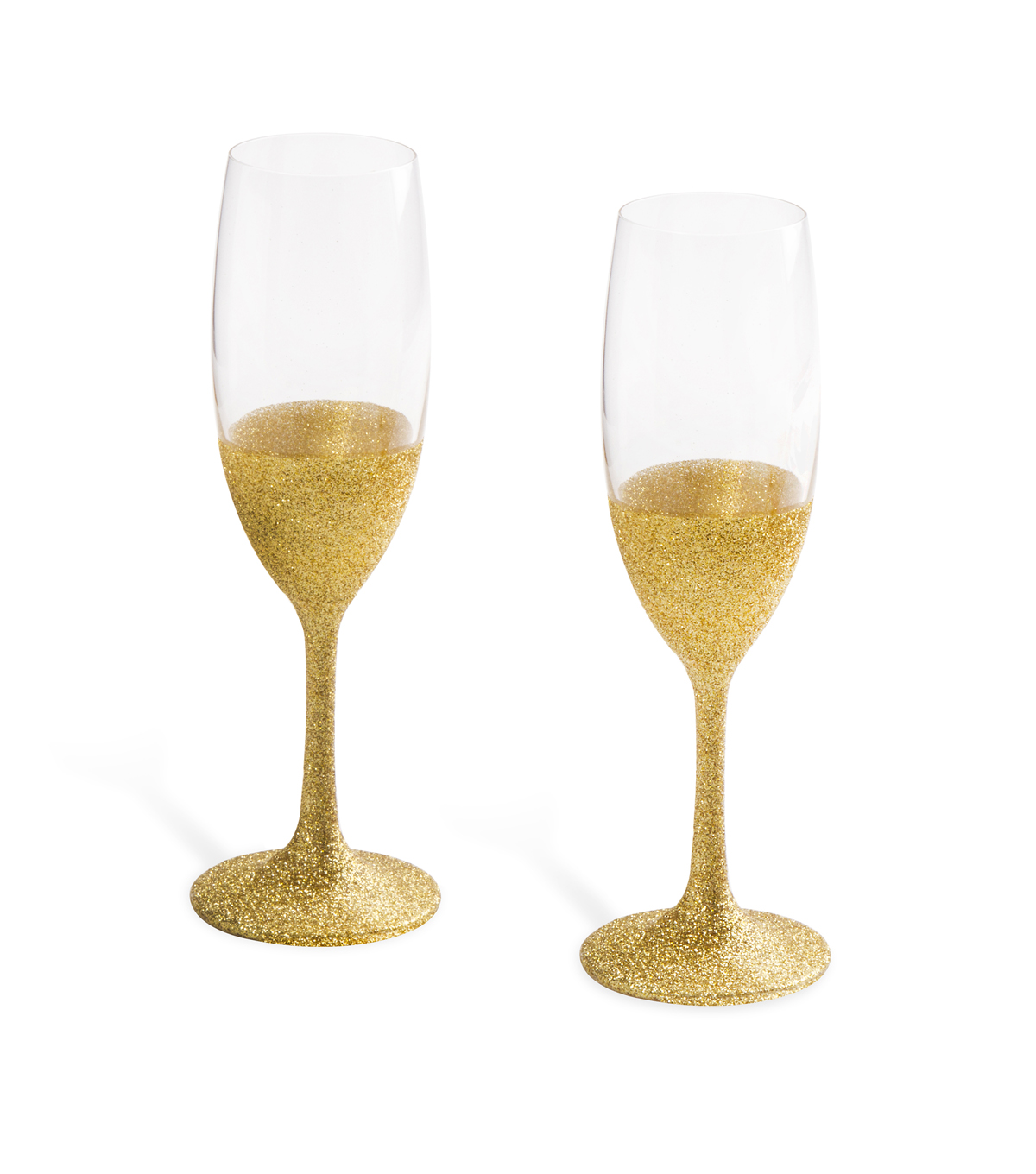 Save The Date™ Gold Glitter Toasting Flutes