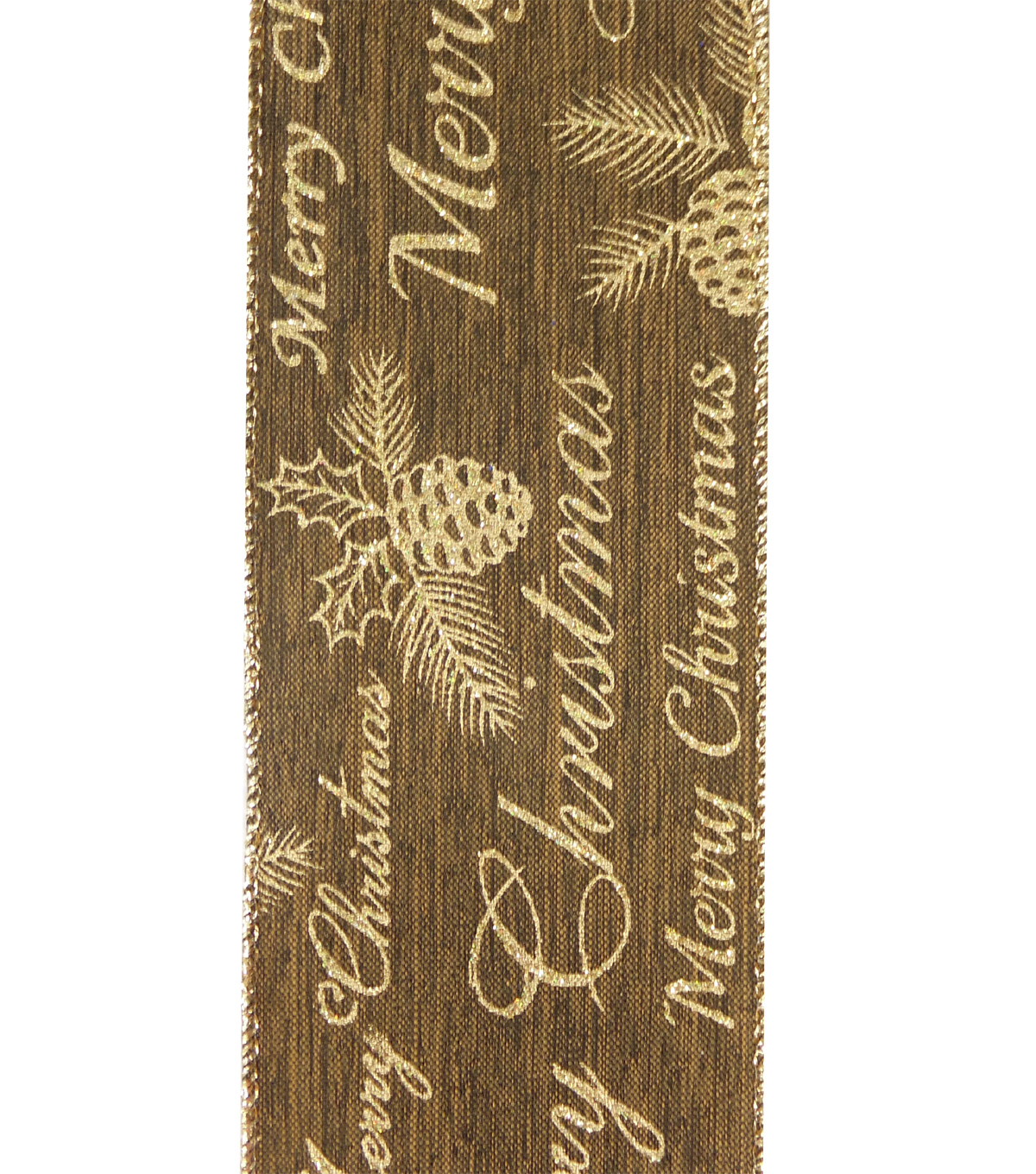 Maker\u0027s Holiday Christmas Ribbon 2.5\u0027\u0027x25\u0027-Gold Pinecone on Brown