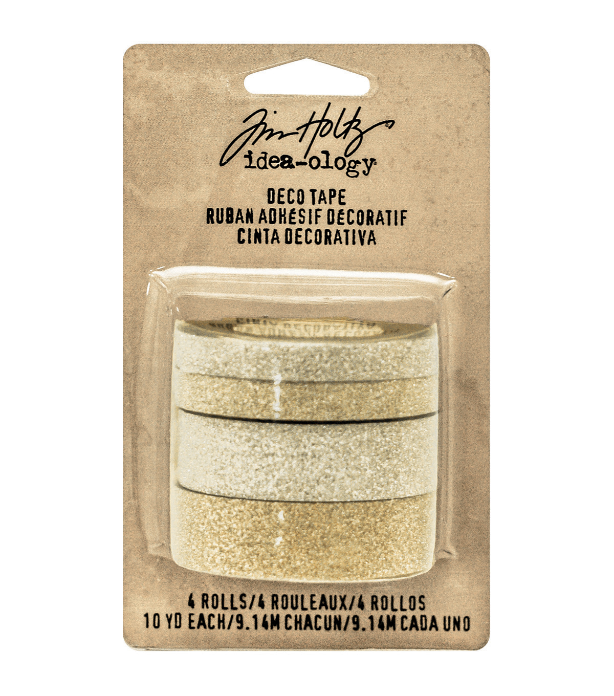 Tim Holtz Idea-Ology Design Tape 10yd 4/Pkg-Silver & Gold