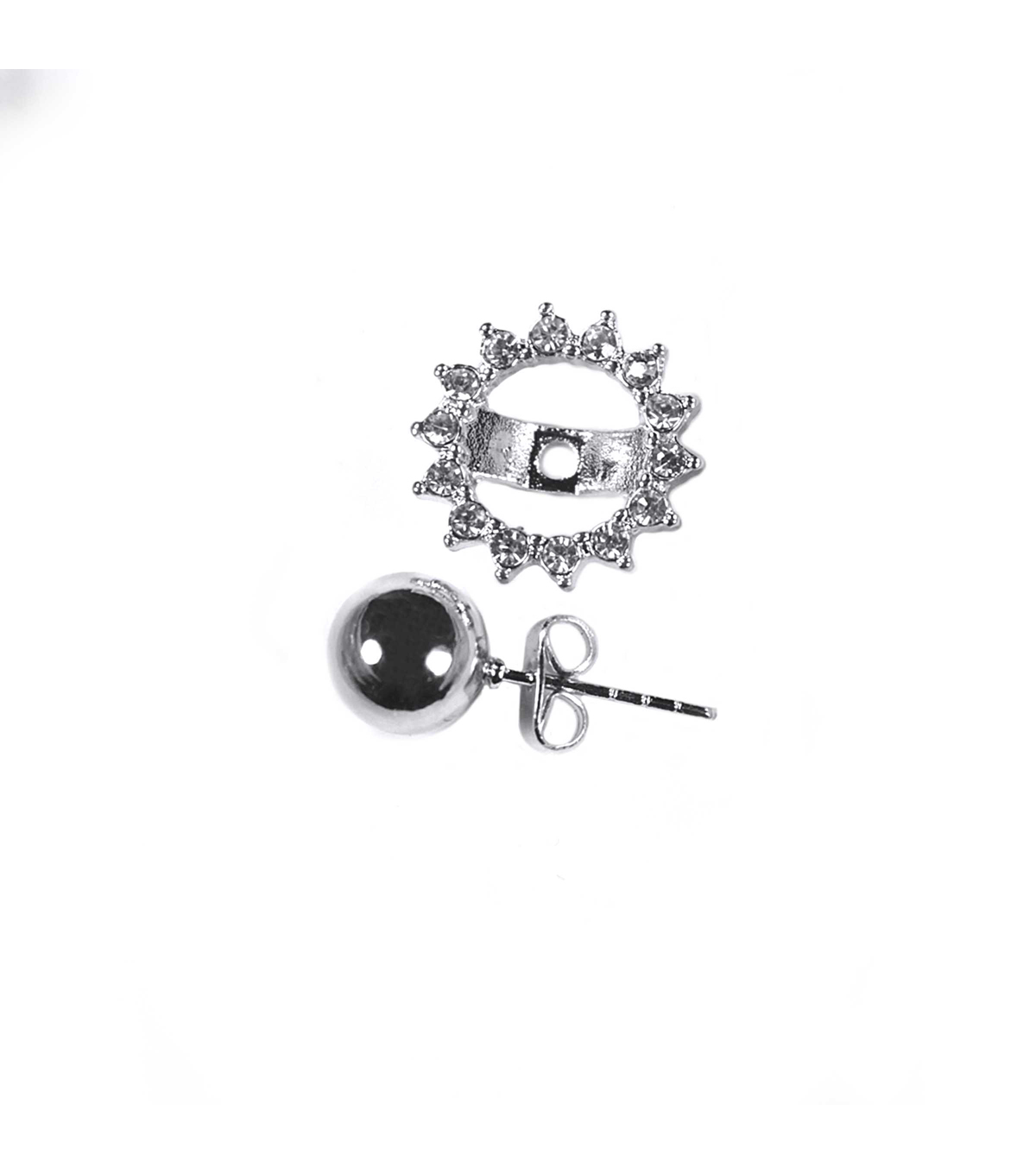 Blue Moon Findings Earring Metal Jacket 8mm Post Silver