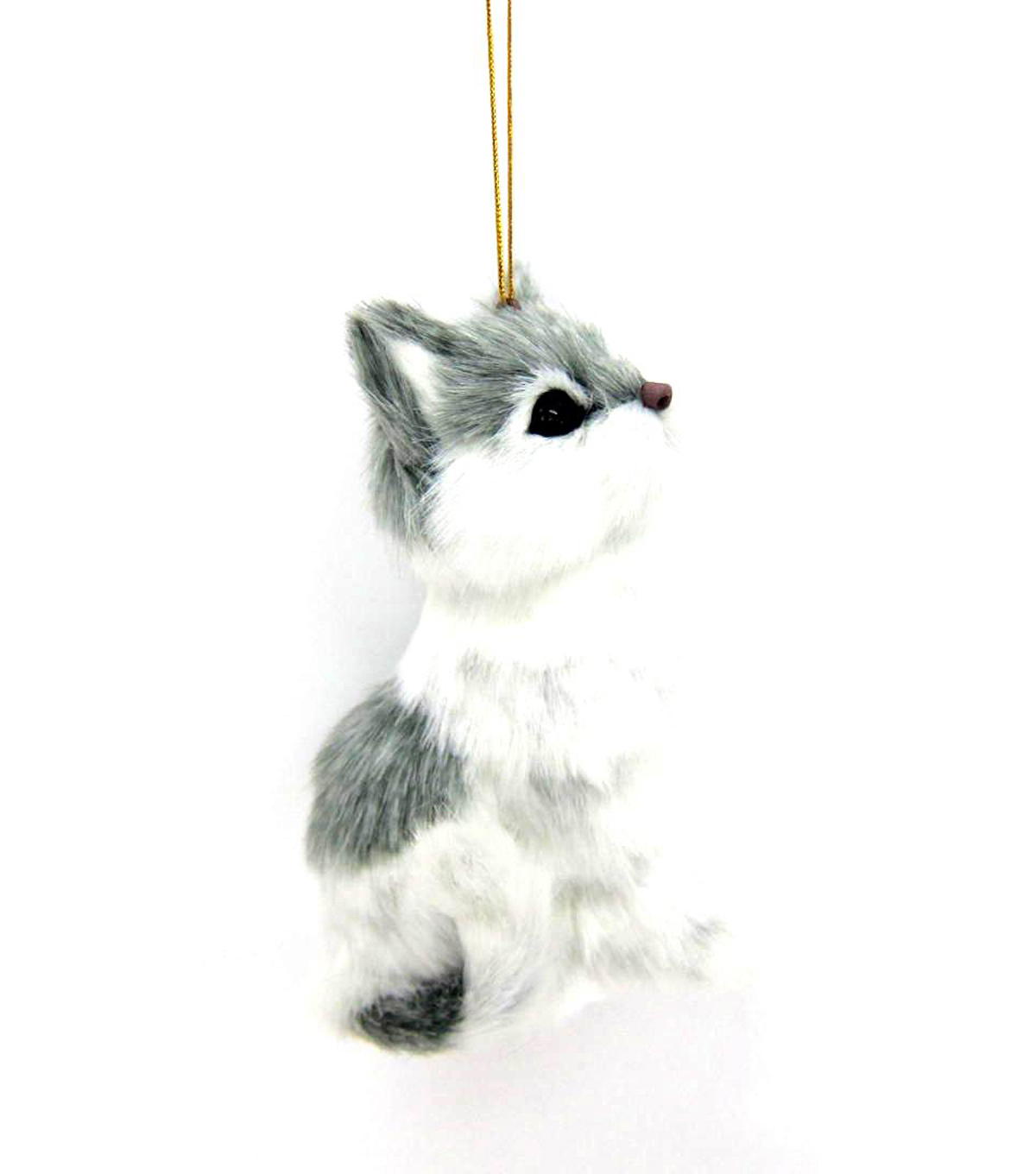 Maker\u0027s Holiday Furry White and Grey Cat Ornament