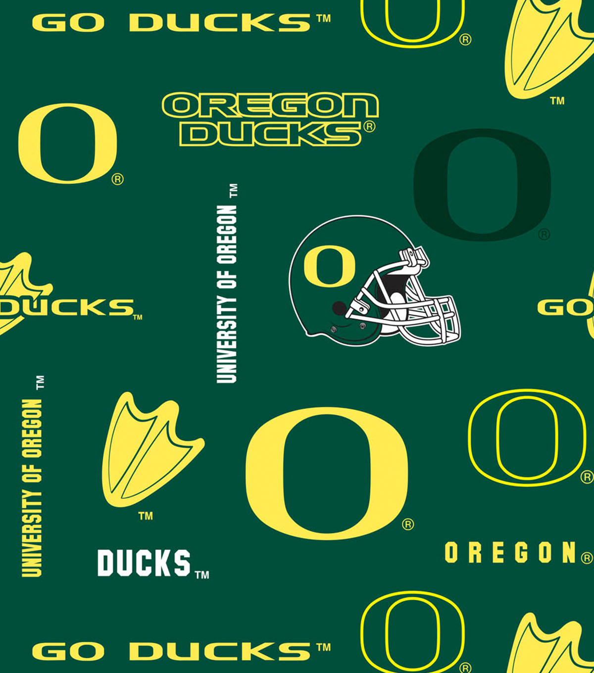 University of Oregon Ducks Cotton Fabric 44\u0022-Allover
