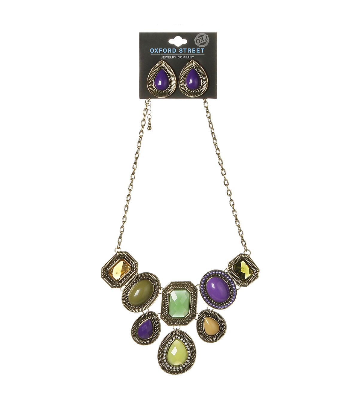Oxford Street Jewelry Co. Multicolor Gem Necklace w/Matching Earrings