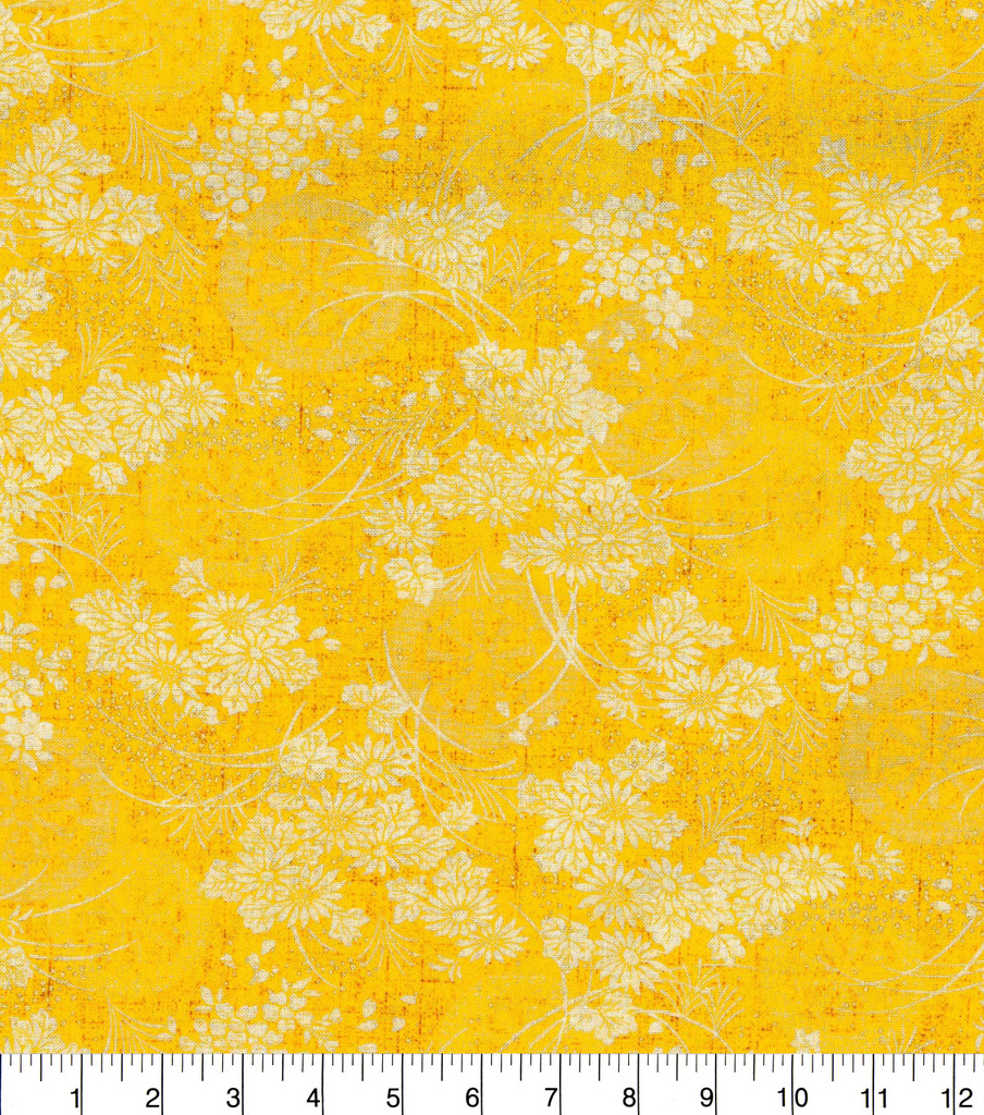 "Asian Inspired Cotton Fabric 44""-Yellow Circle Floral Met"