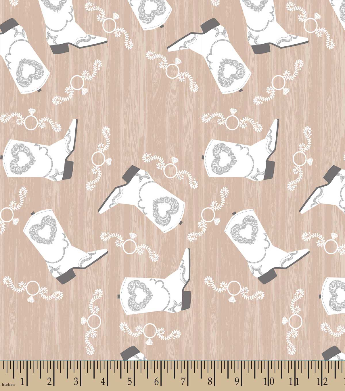 Cowgirl Boots & Wedding Ring Print Fabric