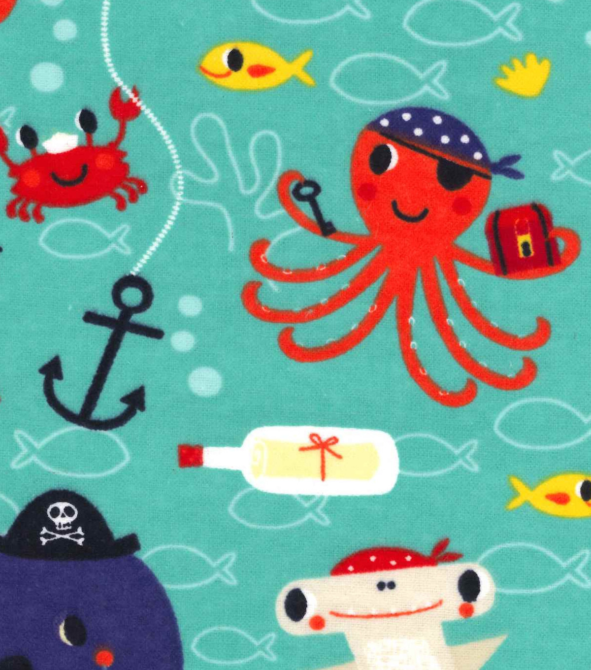 Snuggle Flannel Fabric 42\u0022-Pirate Sea Creatures