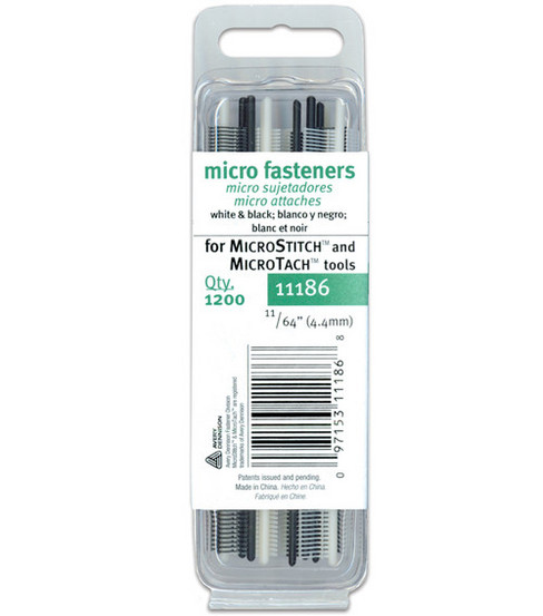 Micro Stitch Fastener Refills 4.4mm White/Black-11/64\u0022 1200/pkg