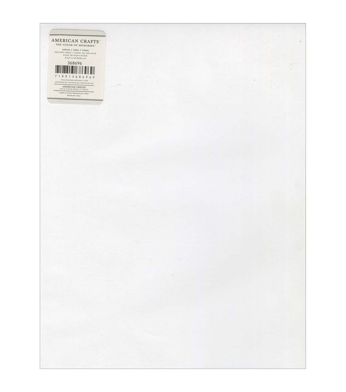 American Crafts Specialty Clear Vellum Sheet 8.5\u0027\u0027x11\u0027\u0027