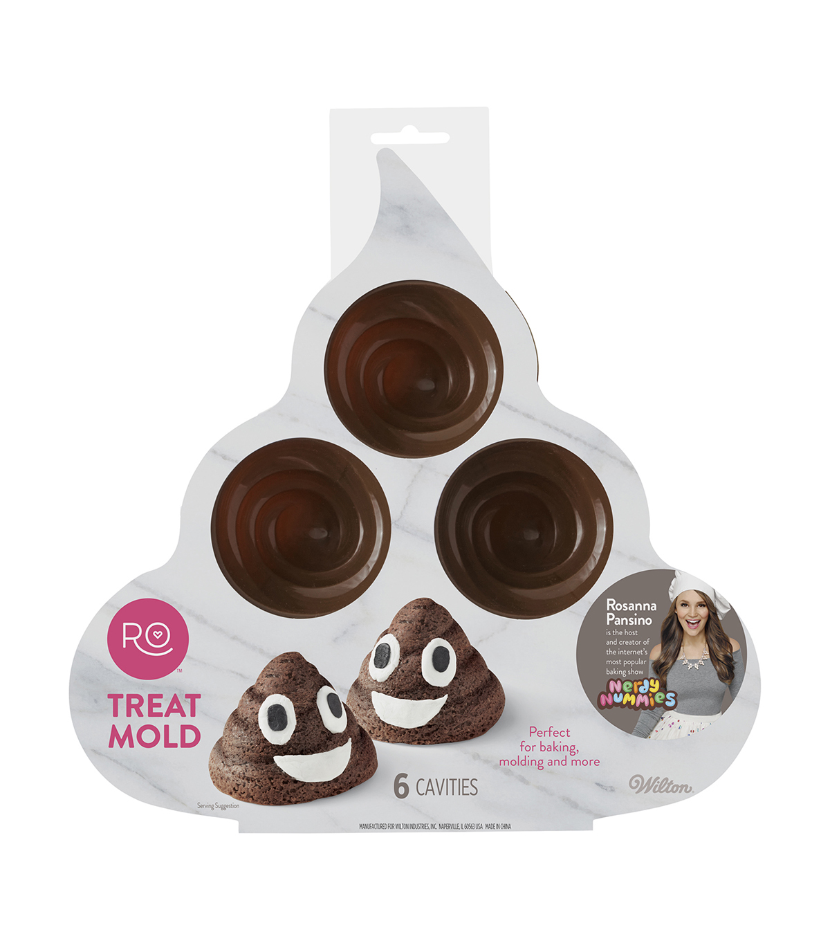 Rosanna Pansino By Wilton 6 Cavity Silicone Poop Swirl Treat Mold