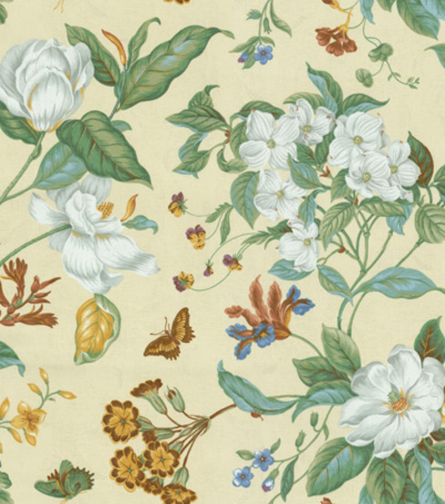 Waverly Upholstery Fabric-Garden Images Parchment